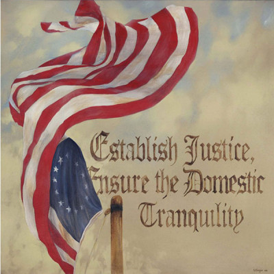 3. Establish Justice, Ensure the Domestic Tranquility – Preamble Flag Series Art Print