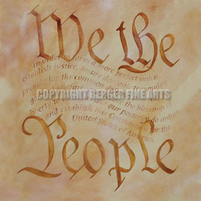 We the People Lettering – Preamble Flag Series Art Print